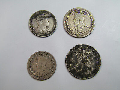 Lot Of 4 Antique Silver Canadian Coins George V Edward VII 5 & 10 Cents