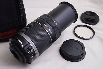 Canon EF-S 55-250mm f/4.0-5.6 IS Lens with Domke Tall Lens Case - EXC+