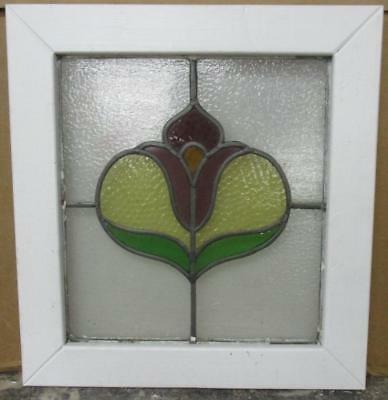 "OLD ENGLISH LEADED STAINED GLASS WINDOW Cute Floral 19.25"" x 20.5"""