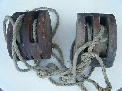 2 Huge Antique Wooden Double Wood Bronze  Pulley Block And Tackle Pulley