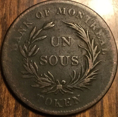 1835-38 Lower Canada Token Bank Of Montreal Un Sous