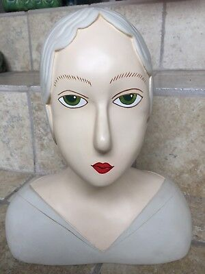 Rare Vintage Art Deco Look Display Green Eyed Lady Head / Bust, Composition?