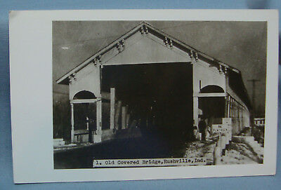 Old Covered Bridge Rushville In Rppc Real Photo Vintage Postcard 3O