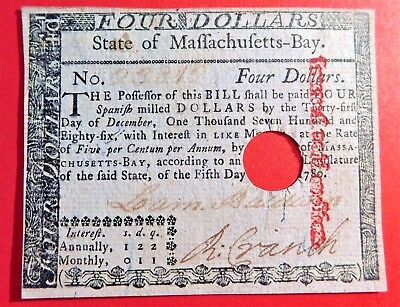 Massachusetts May 5, 1780  Col. $4  Laommi Baldwin, Battle of Lexington, signed