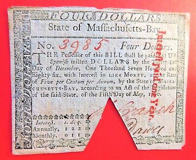 Colonial Massachusetts $4 Spanish Milled Dollars May 5,1780