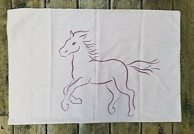 VTG Mid Century MOD ABSTRACT ART HORSE Line Drawing Pillow Case 20x30 Frame-able