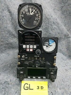 Lot of 3 Old Airplane Gauges and 2 Radios GL3D