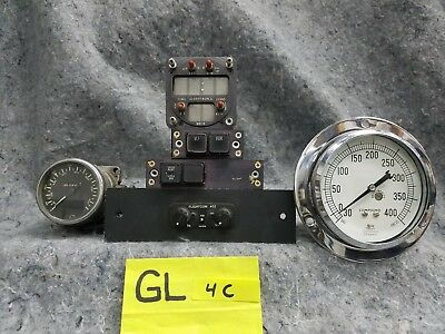 Lot of 3 Old Airplane Gauges 3 Control Panels GL4C