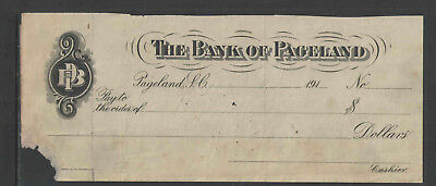 191x THE BANK OF PAGELAND PAGELAND SC ANTIQUE BANK CHECK