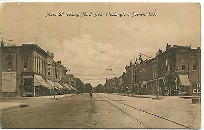 c1910 Goshen, Main St. Looking N. fr/ Washington, Blesin's?, VGCond, Clabber?