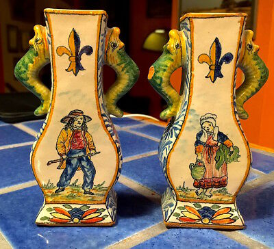 Antique French Malicorne Faience Pair of Vases Dragon Handles n Quimper