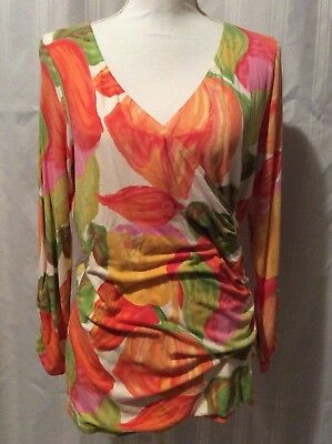CAbi XL Tulip Floral Shirt Style 579 Multi Color Faux Wrap Ruched 3/4 Sleeve XL