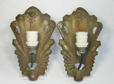 d Vtg Pair CAST IRON ART DECO WALL SCONCE BACKPLATES Slip Shade Light Fixtures