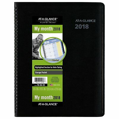 At-A-Glance 76-06-05 Quicknotes Monthly Planner, 8 1/4 X 10 7/8, Black, 2018