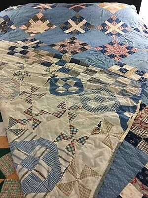 """Vintage Handmade Hand Sewn Double Sided Quilt Sampler Of Patterns 69"""" X 85"""""""