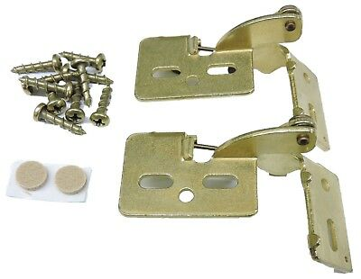 "2 Self Closing Hidden Concealed Cabinet Hinge 5/16"" Overlay Brass Youngdale #5"