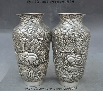 7marked Old China Silver Feng Shui Dragon Play Bead Statue Bottle