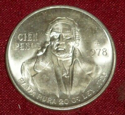 Large 1978 Mexico Silver Hidalgo 100 Peso, Choice Gem Coin, Great Luster!