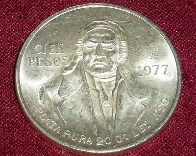 Large 1977 Mexico Silver Hidalgo 100 Peso, Really Nice Coin, Great Luster