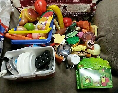 Huge Mixed Lot of Kitchen Toy Play Food & Dishes my little pony case baskets