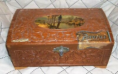 Vintage Romance Chocolates Etched Flowers Wood Dovetail Box Cambridge Mass. And