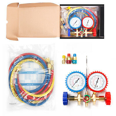R502 R12 R22 Manifold Gauge Set HVAC AC Refrigeration Test Diagnostic w/5ft Hose
