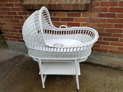 Antique vintage white wIcker baby bassinet basinet crib cradle