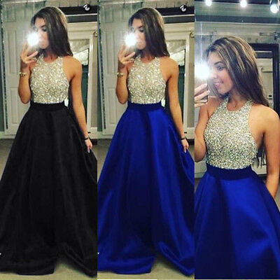 Womens Sleeveless Long Formal Wedding Evening Gown Party Prom Bridesmaid Dress