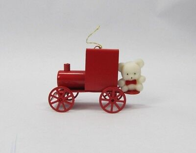 Avon Teddy Bear Ornament Collection Teddy On Train Christmas Holiday Boxed