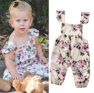 AU Seller Newborn Baby Girl Flower Strap Romper Jumpsuit Playsuit Outfit Clothes