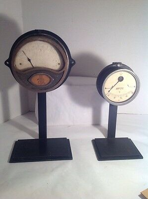 Vintage Antique Gauge Meter Lot Of Two 6 And 5 Inched Diameter Retro Mid Century