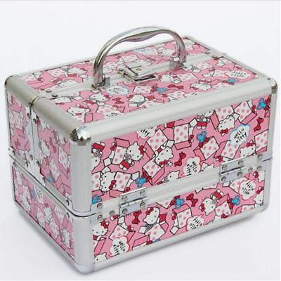 Hello Kitty Professional Makeup Organizer Cosmetic Hard Box Storage Bag Suitcase