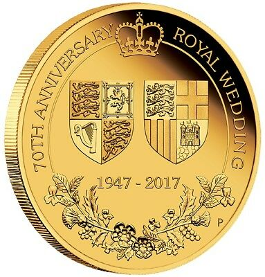 70th ANNIVERSARY OF THE ROYAL WEDDING 2017 2oz GOLD PROOF COIN - PERTH MINT