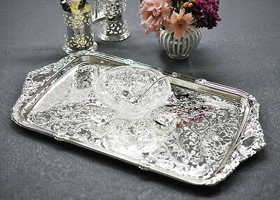 Queen Anne Silver Plated Oblong Tray Integral Handle-SALE