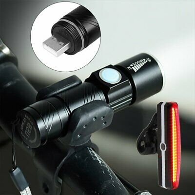 MTB Bike Bicycle Cycle USB Rechargeable LED Head Front Light Rear Tail Lamp Set
