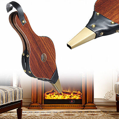 Traditional Stove Lighter Fire Fan Vintage Bellows Dark Brown Fireplace Blower