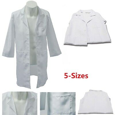 White Kids Lab Doctor Scientist Coat School Fancy Dress Costume Children