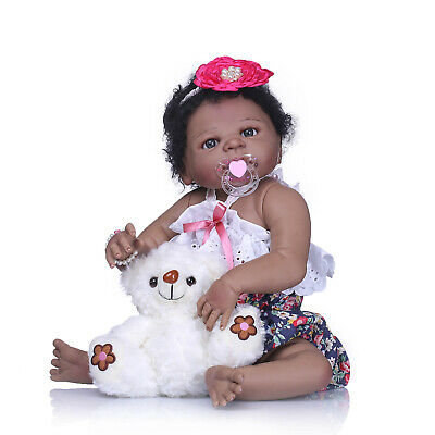 Black Cute Newborn Baby Girl Silicone Full Body Reborn Doll African American 23""