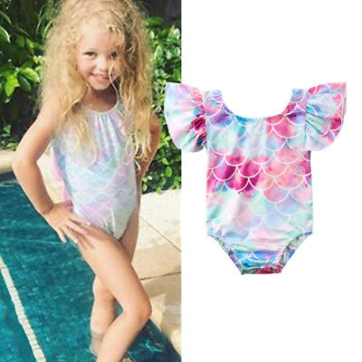 AU Stock Cute Toddler Kids Baby Girls Mermaid Swimsuit Swimwear Bikini Beachwear