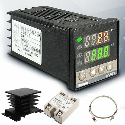AC 100-240V 999℃ Digital PID Temperature Controller + 40A SSR + K Thermocouple