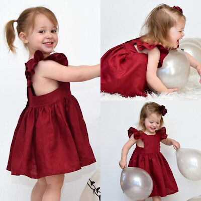 AU Newborn Kid Baby Girl Party Pageant Tutu Formal Dress Sundress Clothes Summer