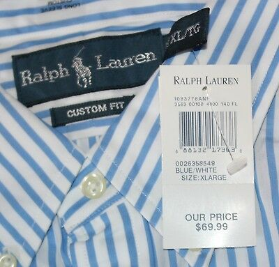 $69 New POLO Custom Button Front Dress Shirt XL X-LARGE Light Blue Striped White
