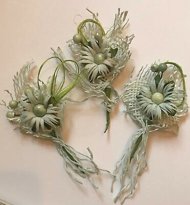 White and Green craft flowers, wire stem - 10 pcs in a pack