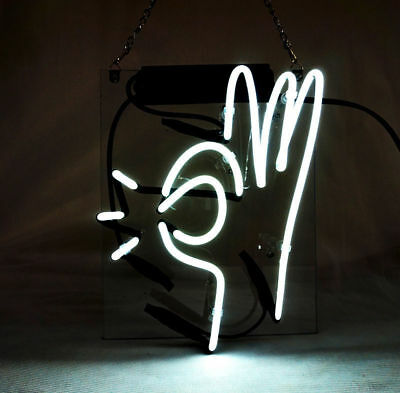 New OK Guesture Acrylic Back  Lamp Light Neon Sign 14''x10''