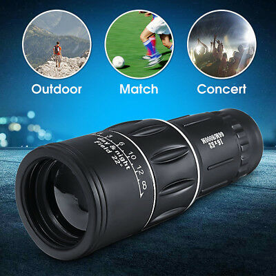 16x52 Zoom Hiking Dual Focus Monocular Telescope 66M/8000M Phone Holder Pouch BK