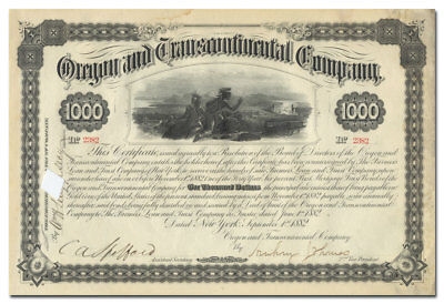 Oregon and Transcontinental Company Bond Certificate (1882)