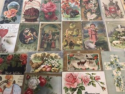 Vintage Mixed Lot of 25 Holidays & Greetings Postcards-Antique- ~in Sleeves-p93