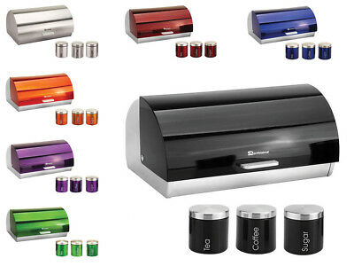 SQ Pro Modern Roll Top Steel Bread Bin Kitchen Food Storage with Canisters Set
