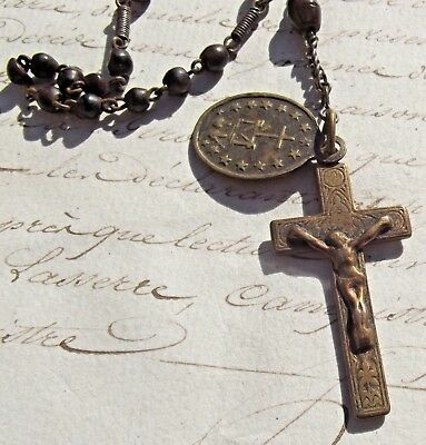 Antique Vintage French Rosary Wooden beads Art Nouveau Cross Miraculous Medal