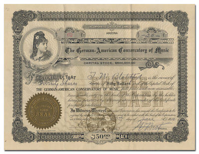 German-American Conservatory of Music Stock Certificate (Chicago)